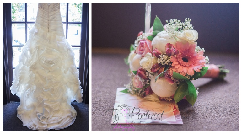 wedding gown and bridal bouquet